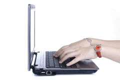 Woman's Hands on Keyboard Royalty Free Stock Photography