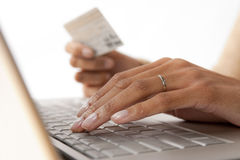 Woman's Hands with Keyboard and Credit Card Stock Photos