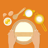 Woman's hands knead dough on table. Prepare the dough for pizza, pastry, cake, bread, pastry, pie. Vector illustration flat design style. Make dough. Cooking Stock Photo