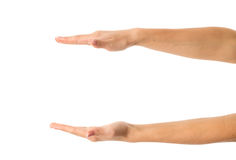 Woman's hands oposite each other Royalty Free Stock Image
