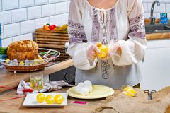 Woman`s hands are painting eggs in yellow color on the working surface royalty free stock photo
