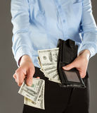 Woman's hands paying money Royalty Free Stock Photography