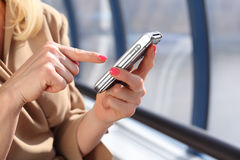 Woman`s hands with pda Royalty Free Stock Photo