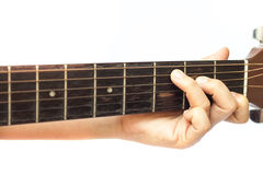 Woman's hands playing acoustic guitar Stock Photo