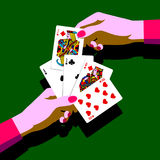 Woman`s hands with playing cards fan Stock Photos