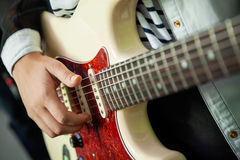Woman's Hands Playing Guitar In Recording Studio Royalty Free Stock Photo