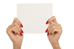 Woman's Hands Showing Blank Paper Sheet Royalty Free Stock Photography