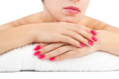 Woman's hands. spa salon. isolated Royalty Free Stock Images