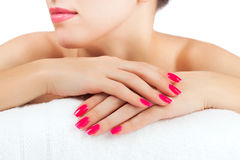 Woman's hands. spa salon. isolated Royalty Free Stock Photos