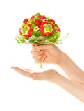 Woman's hands with sweet flower Royalty Free Stock Photo