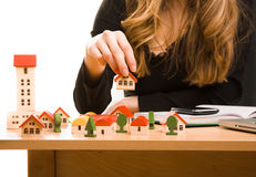 Woman's hands with  toy house Stock Image