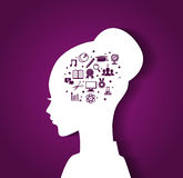 Woman's head with education icons. Vector illustration of Woman's head with education icons Stock Image