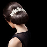 Woman's Head - Fashion Festive Coiffure with Pearls. Upsweep. Stock Photos