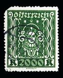 Woman\'s head, serie, circa 1922. MOSCOW, RUSSIA - MAY 15, 2018: A stamp printed in Austria shows Woman\'s head, serie, circa 1922 Stock Photo