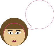 Woman's head with speech bubble Royalty Free Stock Images