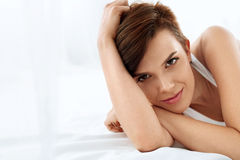 Woman's Health. Smiling Woman With Beautiful Face Skin. Beauty Royalty Free Stock Image