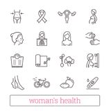 Woman`s health thin line icons. Medicine, women beauty, active lifestyle, healthy diet, breast cancer awareness symbols. Woman`s health thin line icons vector illustration