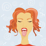 Woman's humour. Woman puts out the tongue Royalty Free Stock Photography