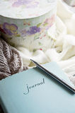 Woman's journal. And flower box in window light Royalty Free Stock Images