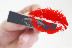 Woman's kiss stamp Royalty Free Stock Images