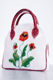 Woman's leather handbag. Hand made. Embroidery flowers Stock Image