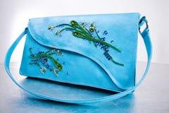Woman's leather handbag. Hand made. Flower Royalty Free Stock Photos