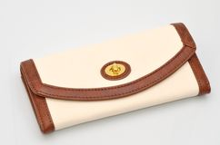 Woman's wallet. Woman's leather purse  on white background Royalty Free Stock Images