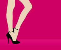 Woman's leg on pink background Royalty Free Stock Images