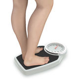 Woman's Legs on Bathroom Scale Royalty Free Stock Photo