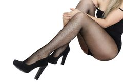 Woman's Legs in black pantyhose Royalty Free Stock Images