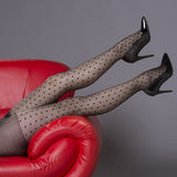 Woman's legs in black spotted tights Stock Photos