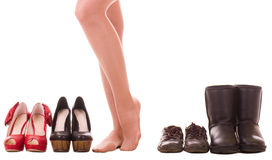 Woman's legs with fashion shoes Stock Photography
