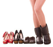 Woman's legs with fashion shoes Royalty Free Stock Photos