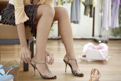 Woman's Legs with Shoes Stock Photography