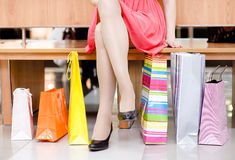 Womans legs and shopping bags Royalty Free Stock Photo