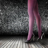 Woman's Legs Wearing Pantyhose and High Heels Royalty Free Stock Photo