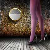 Woman's Legs Wearing Pantyhose and High Heels Royalty Free Stock Photos
