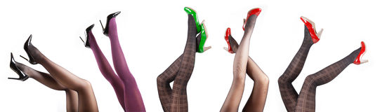 Woman's Legs Wearing Pantyhose and High Heels Royalty Free Stock Photography
