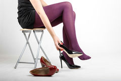 Woman& x27;s Legs Wearing Pantyhose and High Heels. With space for text Stock Photo