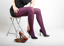 Woman& x27;s Legs Wearing Pantyhose and High Heels. With space for text Stock Image