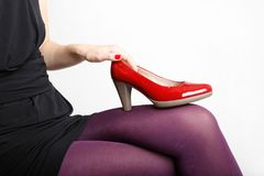 Woman& x27;s Legs Wearing Pantyhose and High Heels. With space for text Royalty Free Stock Image