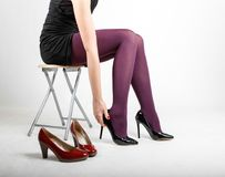 Woman& x27;s Legs Wearing Pantyhose and High Heels. With space for text Stock Images