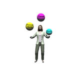 A Woman's Life. 3D render of business woman juggling different aspects of life vector illustration