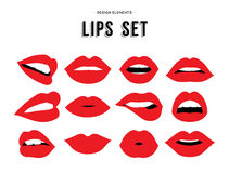Woman's lip emotions gestures set. Woman's lip gestures set. Girl mouths close up with red lipstick makeup expressing different emotions. EPS10 vector Royalty Free Stock Image