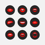 Woman's lip gestures icon set Royalty Free Stock Photos