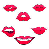Woman`s lip gestures set 2. Woman`s lip gestures set. Girl mouths close up with red lipstick makeup expressing different emotions Royalty Free Stock Photography