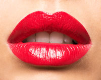 Woman's lips with red lipstick. Royalty Free Stock Photo