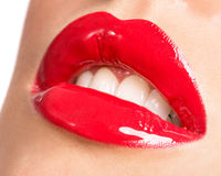 Woman's lips with red lipstick. Royalty Free Stock Photography
