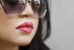 Woman's lips from side profile perspective Royalty Free Stock Image