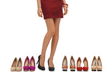 Woman's long legs with high heels. And shoes Royalty Free Stock Photography